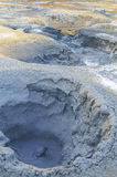 Mudpot Hot boiling mud bubbling steam and exploding at mudpots, the geothermal area Hverir Royalty Free Stock Photo