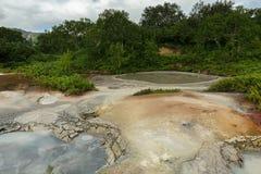 Mudpot in the Uzon Caldera. Kronotsky Nature Reserve royalty free stock images