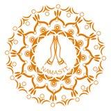 Mudra de Namaste en círculo de la mandala Foto de archivo libre de regalías