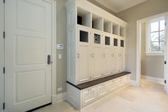 Mudroom with lockers Royalty Free Stock Photos