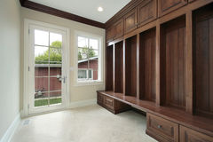 Mudroom with side entry door Stock Images