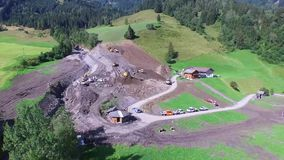 Mudslide in Rauris, cleaning up after violent storms in Rauris (Pinzgau) Austria alps stock video