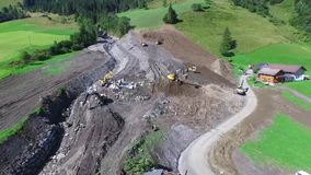 Mudslide in Rauris, cleaning up after violent storms in Rauris (Pinzgau) Austria alps stock footage