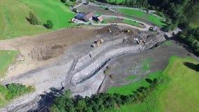 Mudslides scar the hillsides of austria following heavy rain. Europe stock video footage