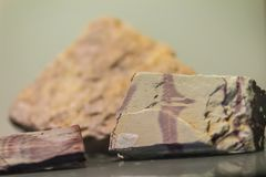 Mudstone stone specimen from mining and quarrying industries. Mu stock photography
