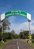 Mudumalai Tiger Reserve sign in Masamigulli Forest,  India. Stock Photos