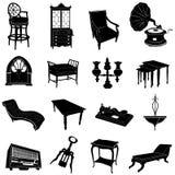 Muebles antiguos y objetos stock de ilustración