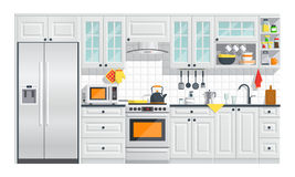 Muebles blancos de la cocina con el ejemplo de los dispositivos Foto de archivo