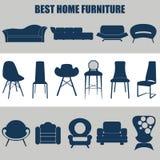 Muebles caseros, sistema del diseño de concepto de los ejemplos, vector Fotos de archivo