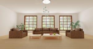 Muebles de cuero en salón moderno vacío con las plantas Fotos de archivo