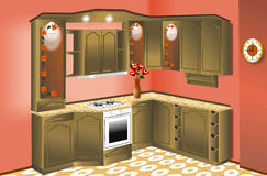 Muebles de la cocina stock de ilustración