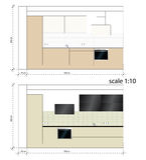 Muebles de la cocina Cuarto de baño Escala del ejemplo del vector ilustración del vector