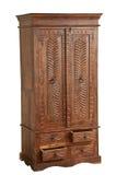 Muebles de madera antiguos aislados para el anuncio imagenes de archivo