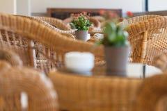Muebles de mimbre en café Fotografía de archivo libre de regalías