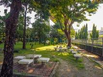 Muebles de piedra en parque con el árbol fotos de archivo