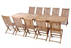 Muebles del jardín de la teca, sistema de los muebles del jardín Imagen de archivo