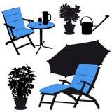 Muebles del jardín, siluetas del vector Imagen de archivo libre de regalías