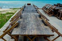 Muebles del restaurante por el mar Fotografía de archivo