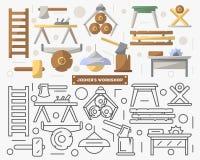 Muebles del taller de la carpintería fijados en estilo plano stock de ilustración
