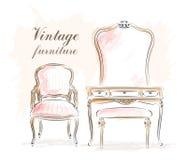 Muebles elegantes del vintage: tocador con el espejo y las sillas bosquejo Fotos de archivo libres de regalías