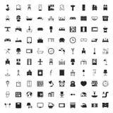 Muebles 100 iconos fijados para el web Fotografía de archivo libre de regalías