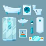 Muebles interiores del cuarto de baño y diverso equipo Ejemplos del vector en estilo de la historieta Fotografía de archivo libre de regalías