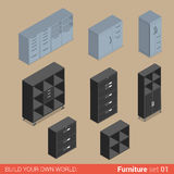 Muebles isométricos del vector plano del gabinete del armario del almacenamiento del armario ilustración del vector