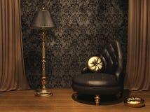 Muebles lujosos en viejo interior labrado Imagenes de archivo