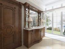 Muebles neoclásicos de lujo en estilo moderno en el cuarto de baño Fotos de archivo libres de regalías