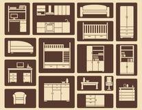Muebles planos e iconos interiores Imagen de archivo libre de regalías