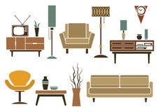 Muebles planos retros e iconos interiores Imágenes de archivo libres de regalías