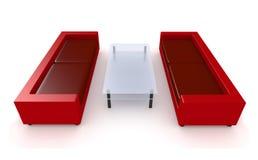 Muebles rojos 1 de la sala de estar Imágenes de archivo libres de regalías