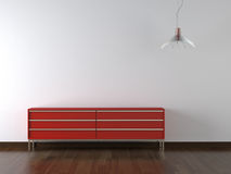 Muebles rojos del diseño interior encendido Imagen de archivo libre de regalías
