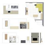 muebles Sala de estar del diseño Cuarto de baño Escala 1: 10 stock de ilustración