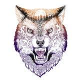 Mueca principal del lobo del tatuaje Fotografía de archivo