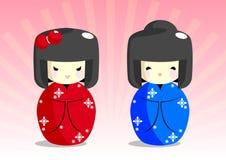 Muñecas de Kokeshi Imagen de archivo libre de regalías