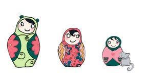 Muñecas del matrioshka de Funnies Foto de archivo libre de regalías