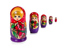 Muñecas rusas del matryoshka aisladas en el fondo blanco Imagen de archivo libre de regalías