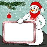 Muñeco de nieve con el fondo del vector de la Navidad de la cartelera Fotos de archivo libres de regalías
