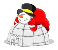 Muñeco de nieve con la casa del iglú - ejemplo del vector de la Navidad Imagen de archivo libre de regalías