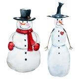 Muñeco de nieve dibujado mano del vector de la acuarela Fotos de archivo
