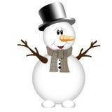 Muñeco de nieve en un fondo blanco Foto de archivo libre de regalías