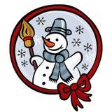 Muñeco de nieve feliz con la tarjeta roja de las vacaciones de invierno de la cinta Imagen de archivo