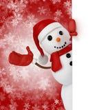 muñeco de nieve feliz 3d que lleva a cabo una muestra del tablero de madera Fotografía de archivo libre de regalías