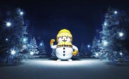 Muñeco de nieve feliz en bosque mágico que brilla del invierno Fotos de archivo libres de regalías