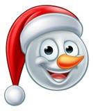 Muñeco de nieve Santa Hat Emoji de la Navidad Foto de archivo libre de regalías