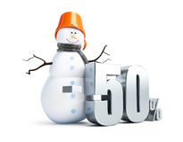 Muñeco de nieve, un descuento de los ejemplos del 50 por ciento 3d Fotografía de archivo