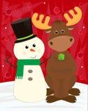Muñeco de nieve y alces Imágenes de archivo libres de regalías