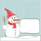 Muñeco de nieve y cartelera del invierno de la Navidad Fotos de archivo