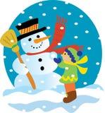 Muñeco de nieve y niño Imagenes de archivo